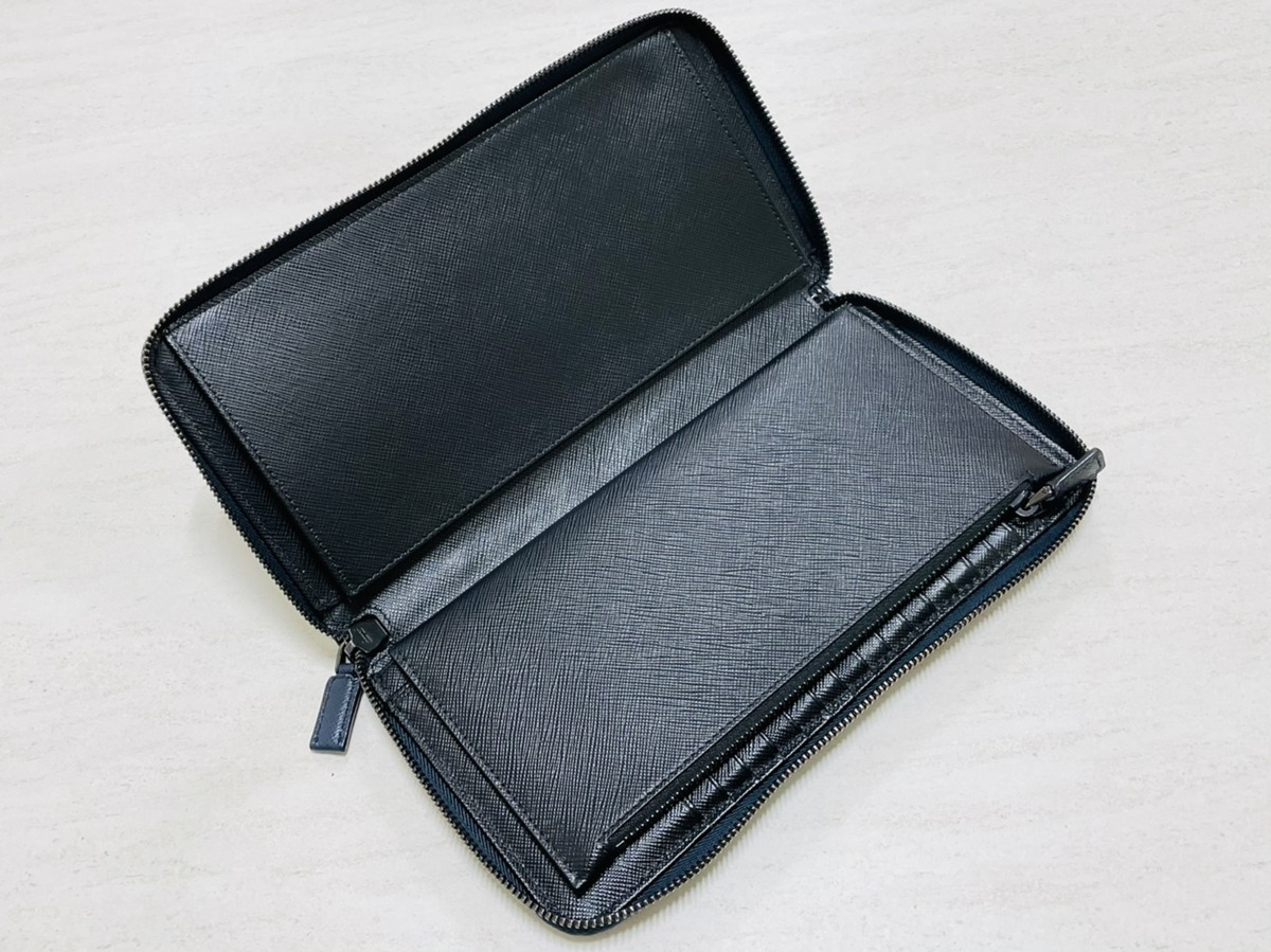 PRADA プラダ トラベルケース オーガナイザー ラウンドファスナー長財布 サフィアーノ レザー ネイビー×ブラック アウトレット品 2ML220_画像6
