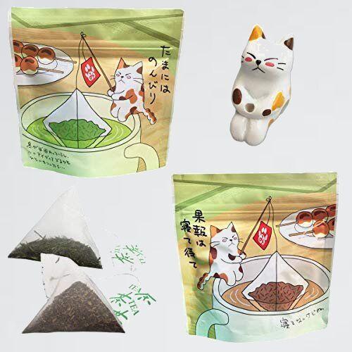 新品 好評 ティ-バッグ ねこ茶 7-6Q 誕生日 猫のフィギュア付き セット 釣り (深蒸し茶・ほうじ茶) 可愛い お茶 母の日 プチギフト_画像1