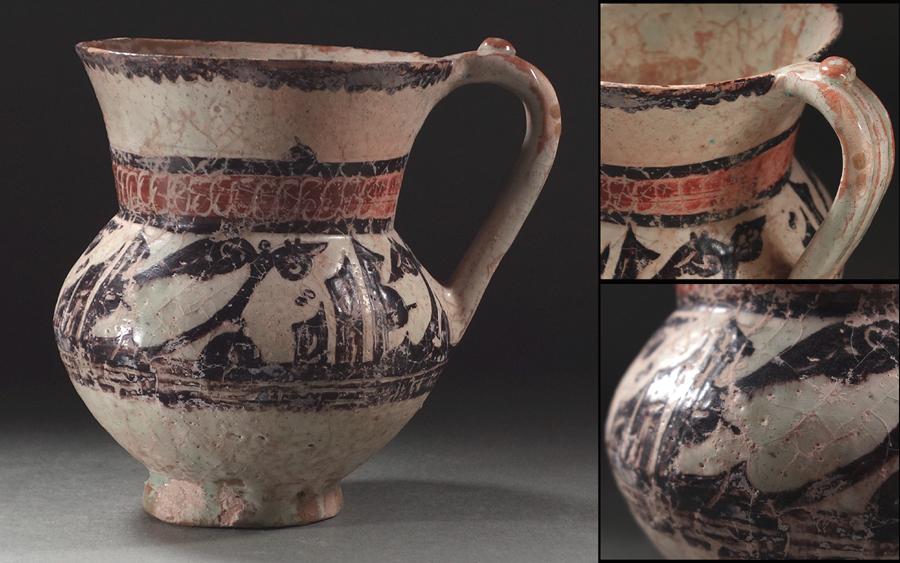 ?花?9~10世紀頃古代ペルシャ陶器 イラン?ニシャプール出土 白釉多彩草葉文把手付広口壷 ◇18