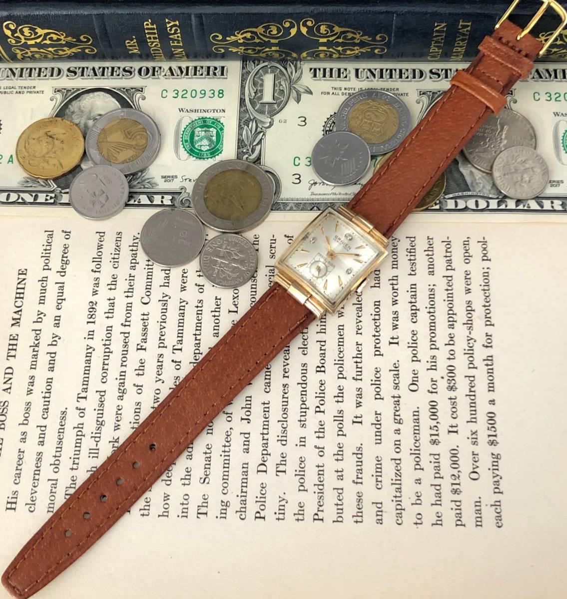 【貴重】◎/グリュエン/GRUEN/ゴールド/1950's/アンティーク/Veri-Thin/10K/スクエア/手巻/金張/ベリシン/メンズ腕時計/アメリカ/送料無料_画像5