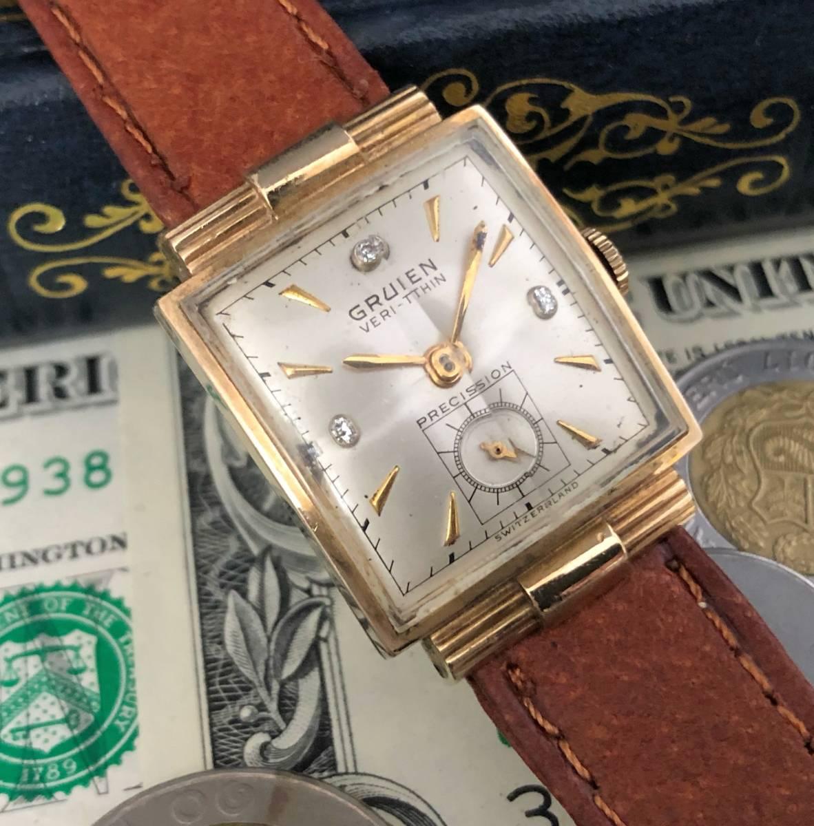 【貴重】◎/グリュエン/GRUEN/ゴールド/1950's/アンティーク/Veri-Thin/10K/スクエア/手巻/金張/ベリシン/メンズ腕時計/アメリカ/送料無料_画像2
