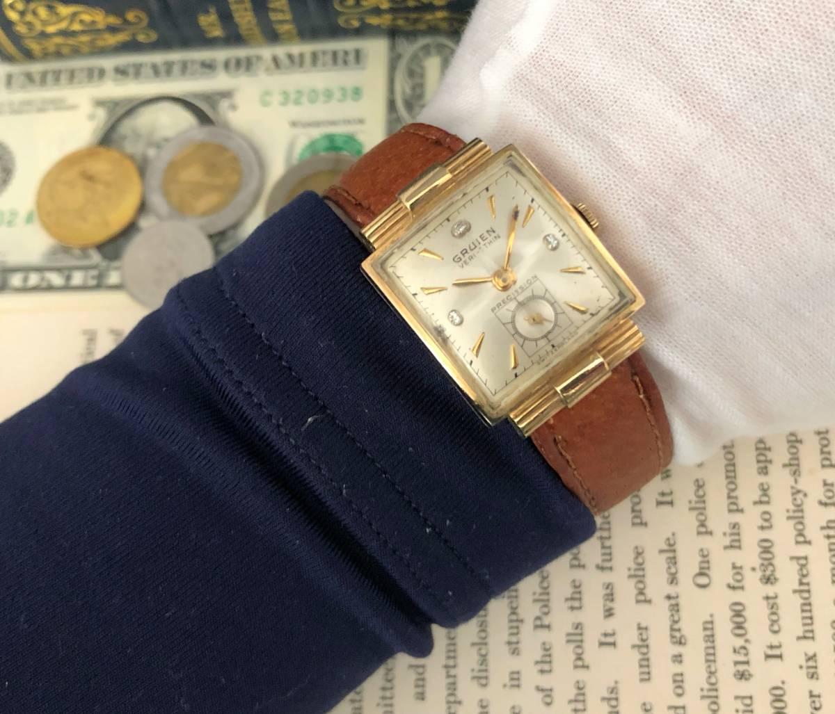 【貴重】◎/グリュエン/GRUEN/ゴールド/1950's/アンティーク/Veri-Thin/10K/スクエア/手巻/金張/ベリシン/メンズ腕時計/アメリカ/送料無料_画像6