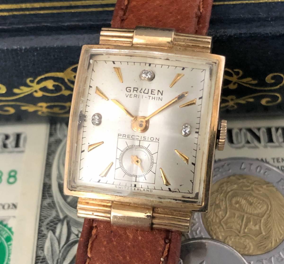 【貴重】◎/グリュエン/GRUEN/ゴールド/1950's/アンティーク/Veri-Thin/10K/スクエア/手巻/金張/ベリシン/メンズ腕時計/アメリカ/送料無料_画像1