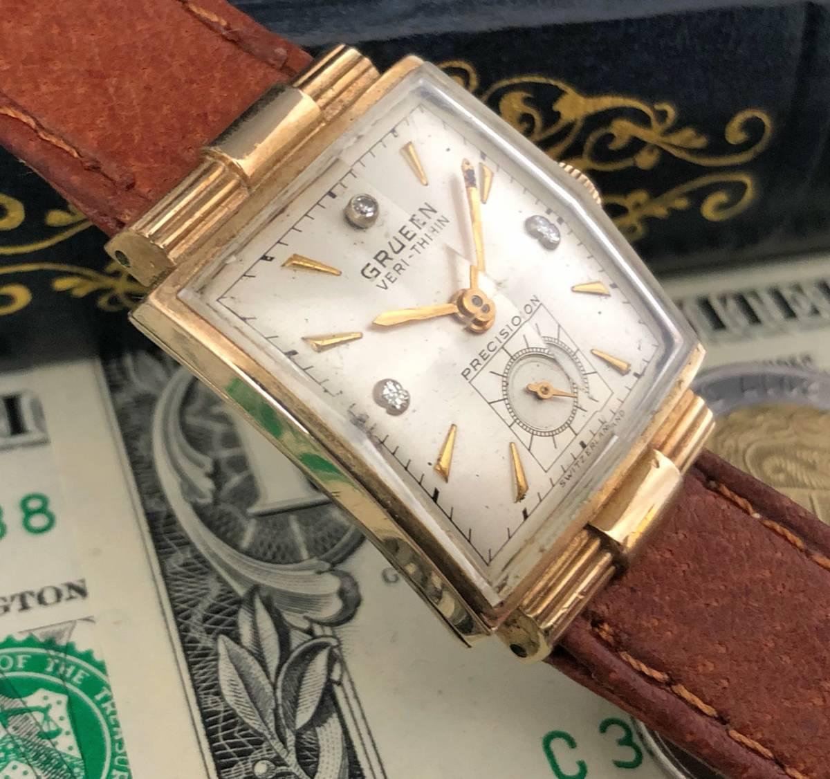 【貴重】◎/グリュエン/GRUEN/ゴールド/1950's/アンティーク/Veri-Thin/10K/スクエア/手巻/金張/ベリシン/メンズ腕時計/アメリカ/送料無料_画像4