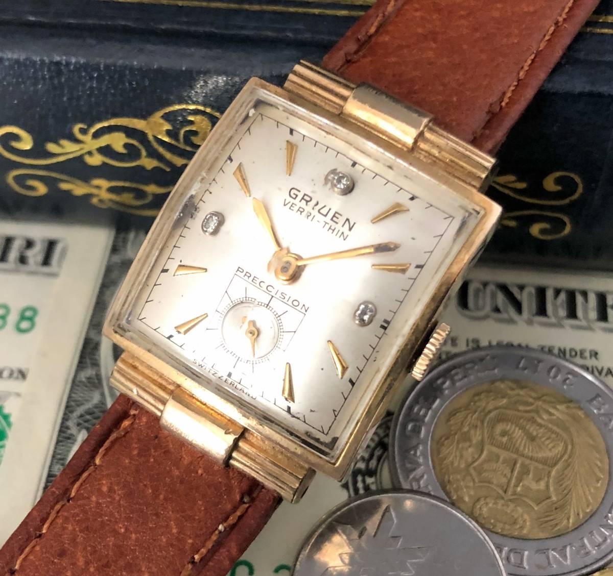 【貴重】◎/グリュエン/GRUEN/ゴールド/1950's/アンティーク/Veri-Thin/10K/スクエア/手巻/金張/ベリシン/メンズ腕時計/アメリカ/送料無料_画像8