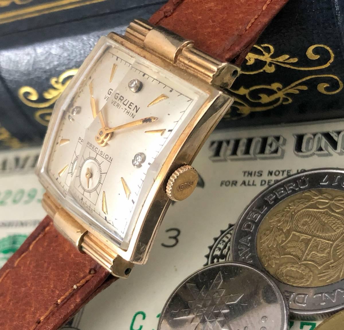 【貴重】◎/グリュエン/GRUEN/ゴールド/1950's/アンティーク/Veri-Thin/10K/スクエア/手巻/金張/ベリシン/メンズ腕時計/アメリカ/送料無料_画像3