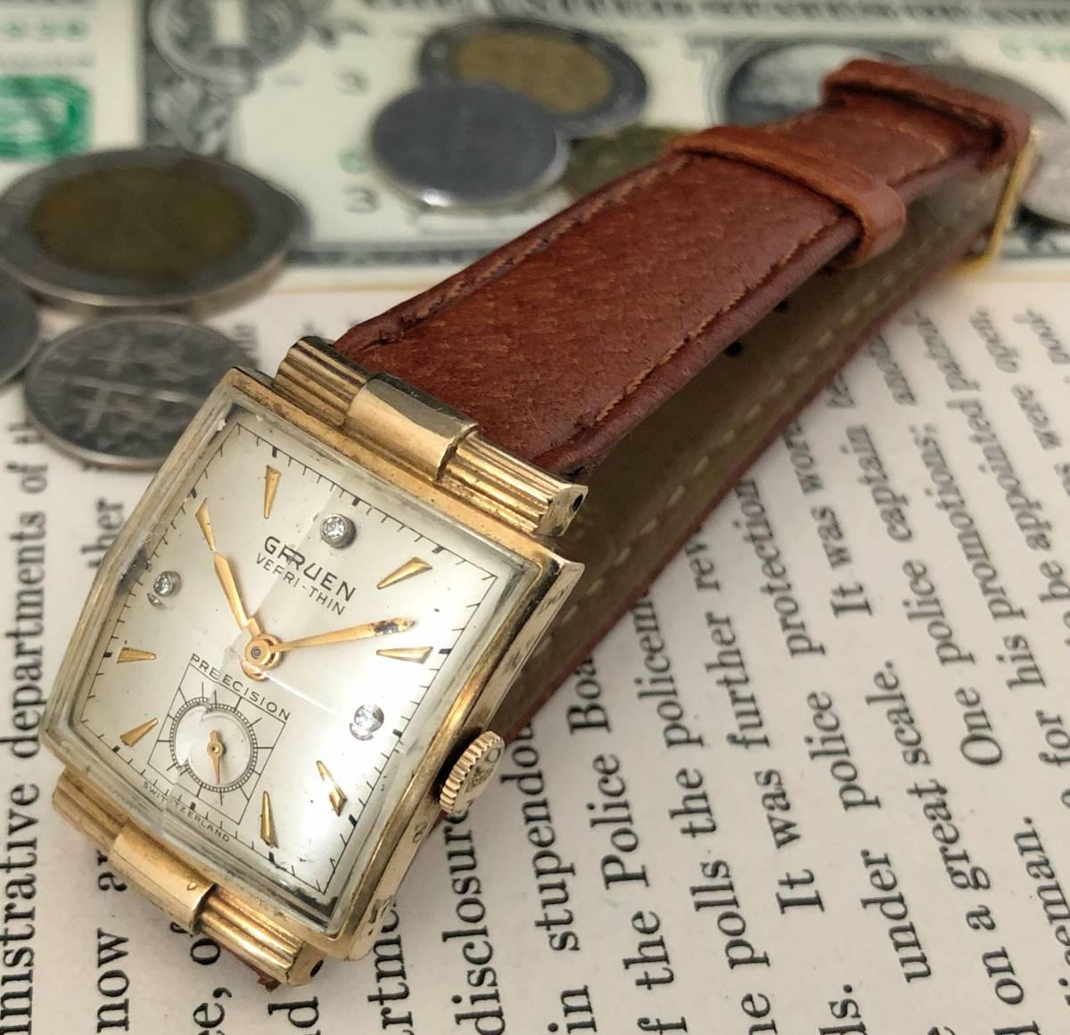 【貴重】◎/グリュエン/GRUEN/ゴールド/1950's/アンティーク/Veri-Thin/10K/スクエア/手巻/金張/ベリシン/メンズ腕時計/アメリカ/送料無料_画像7