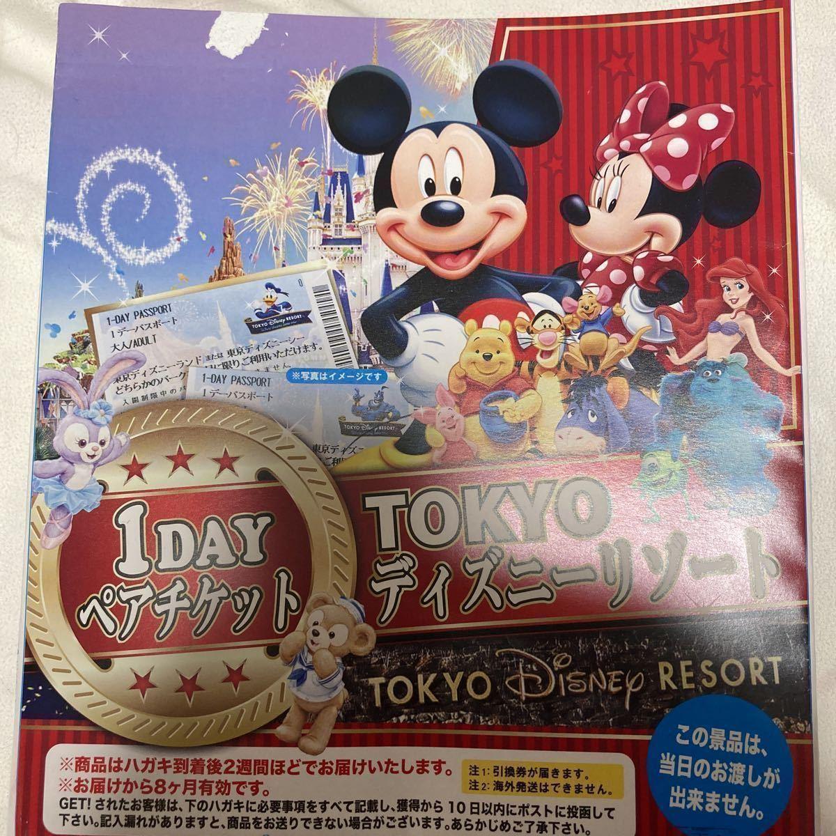 【送料無料】東京ディズニーリゾート TDR 1day ペアチケット ディズニーランド TDL ディズニーシー TDS パスポート 引換券