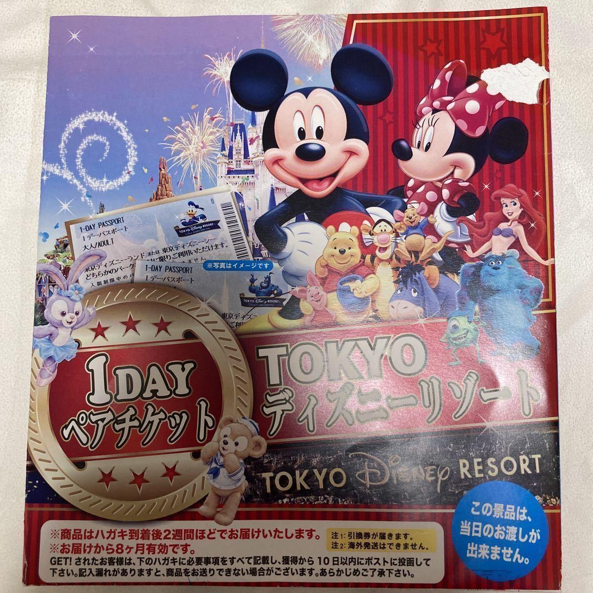 【送料込み】東京ディズニーリゾート TDR 1day ペアチケット ディズニーランド TDL ディズニーシー TDS パスポート 引換券_画像1