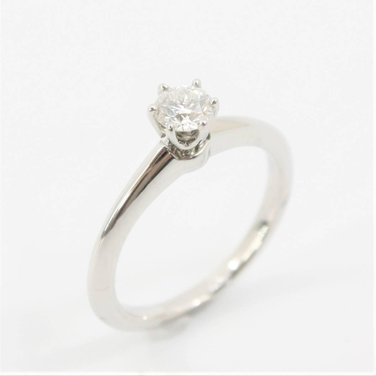 H 1円スタート TIFFANY&Co. ティファニーPt950 ダイヤモンド リング 0.30ct ソリティア 8号 指輪 H VS2 EXCELLENT 磨き済み