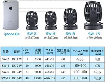 SW2(2500L/H) METIS ウェーブポンプ 水流ポンプ 水中ポンプ 水槽ポンプ アクアリウム ワイヤレス 回転式 水槽_画像8