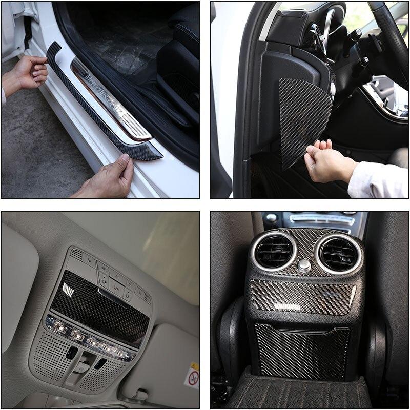 メルセデス ベンツCクラスW205 C180 16-19リアルカーボンファイバー車外ドア敷居プロテクタープレートカバー3Dステッカー_画像1