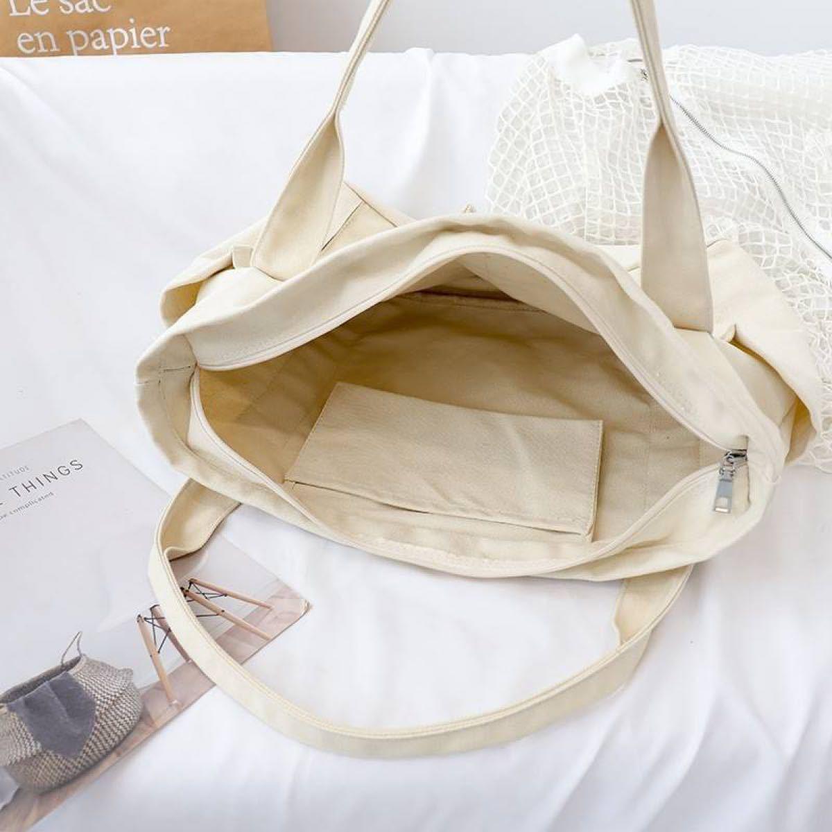 トートバッグ バッグ ハンドバッグ キャンバス エコバッグ  帆布 大きい ファスナー マザーバッグ トート 肩掛け 大容量