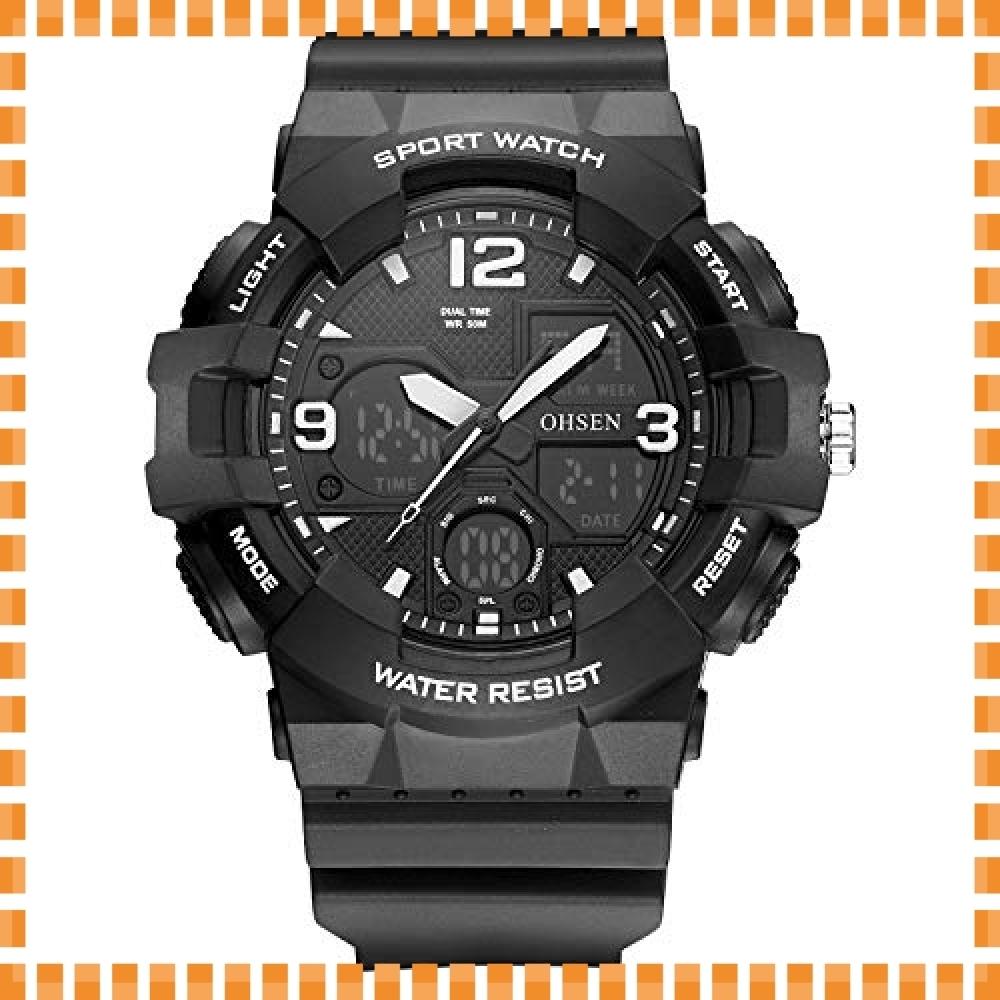 ♪色ブラック デジタル腕時計メンズ ミリタリー アナデジ スポーツウォッチ アラーム ストップウォッチ 曜日 日付表示 多_画像1