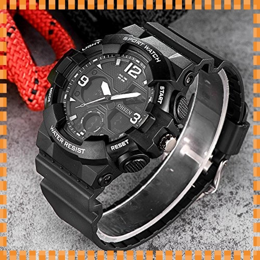 ♪色ブラック デジタル腕時計メンズ ミリタリー アナデジ スポーツウォッチ アラーム ストップウォッチ 曜日 日付表示 多_画像4