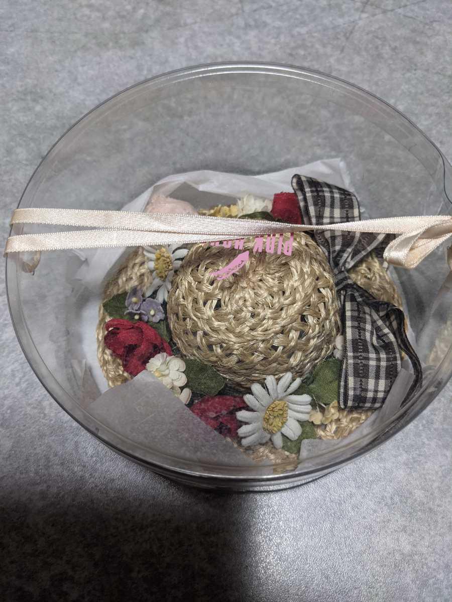 未使用品!!ピンクハウスの麦わら帽子のコサージュ≫お花のデコレーションが可愛いです。