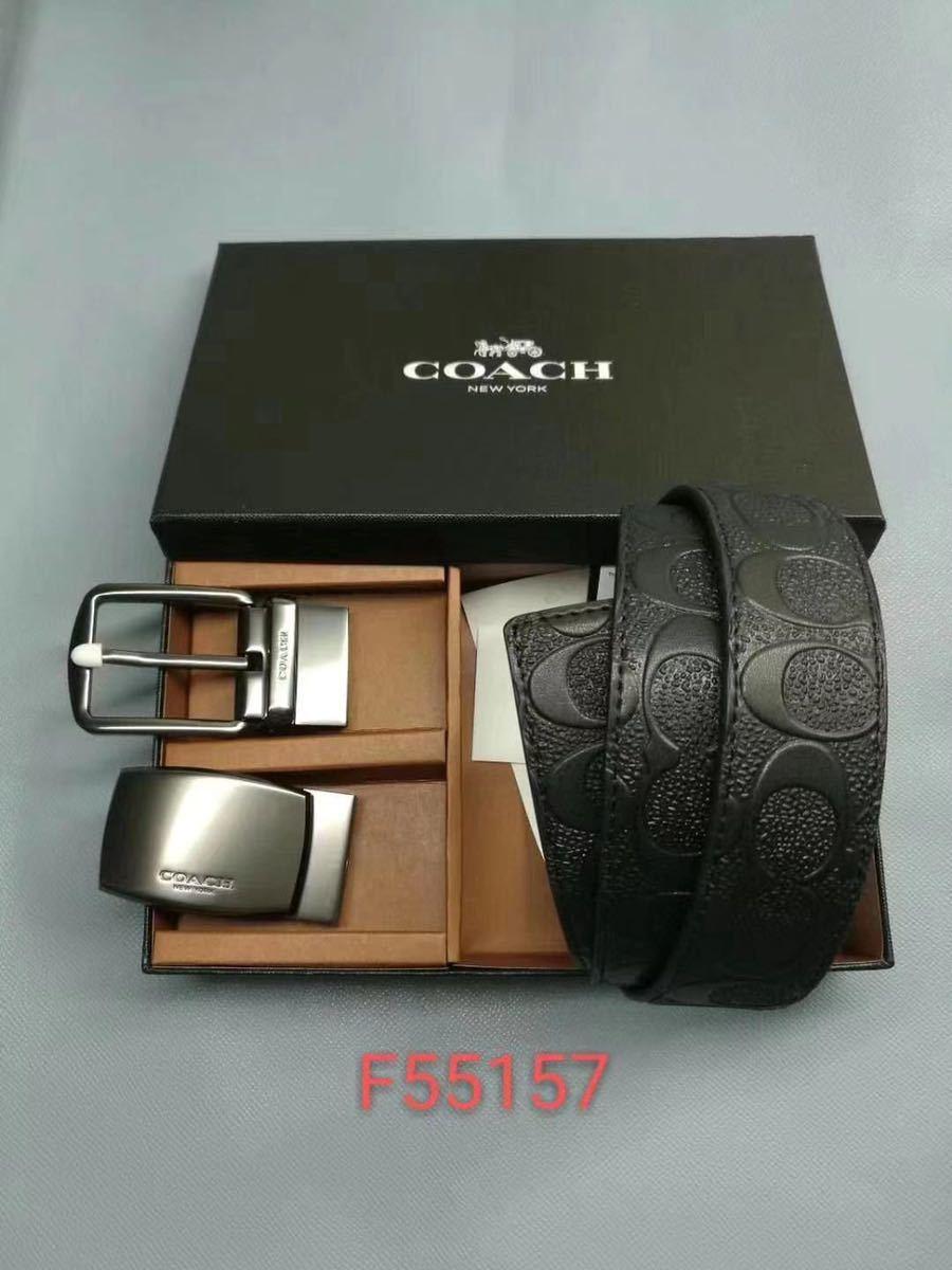 コーチ COACH 小物 メンズ ベルト ワイド ハーネス リバーシブル レザー ベルト F55157 BLK ブラック
