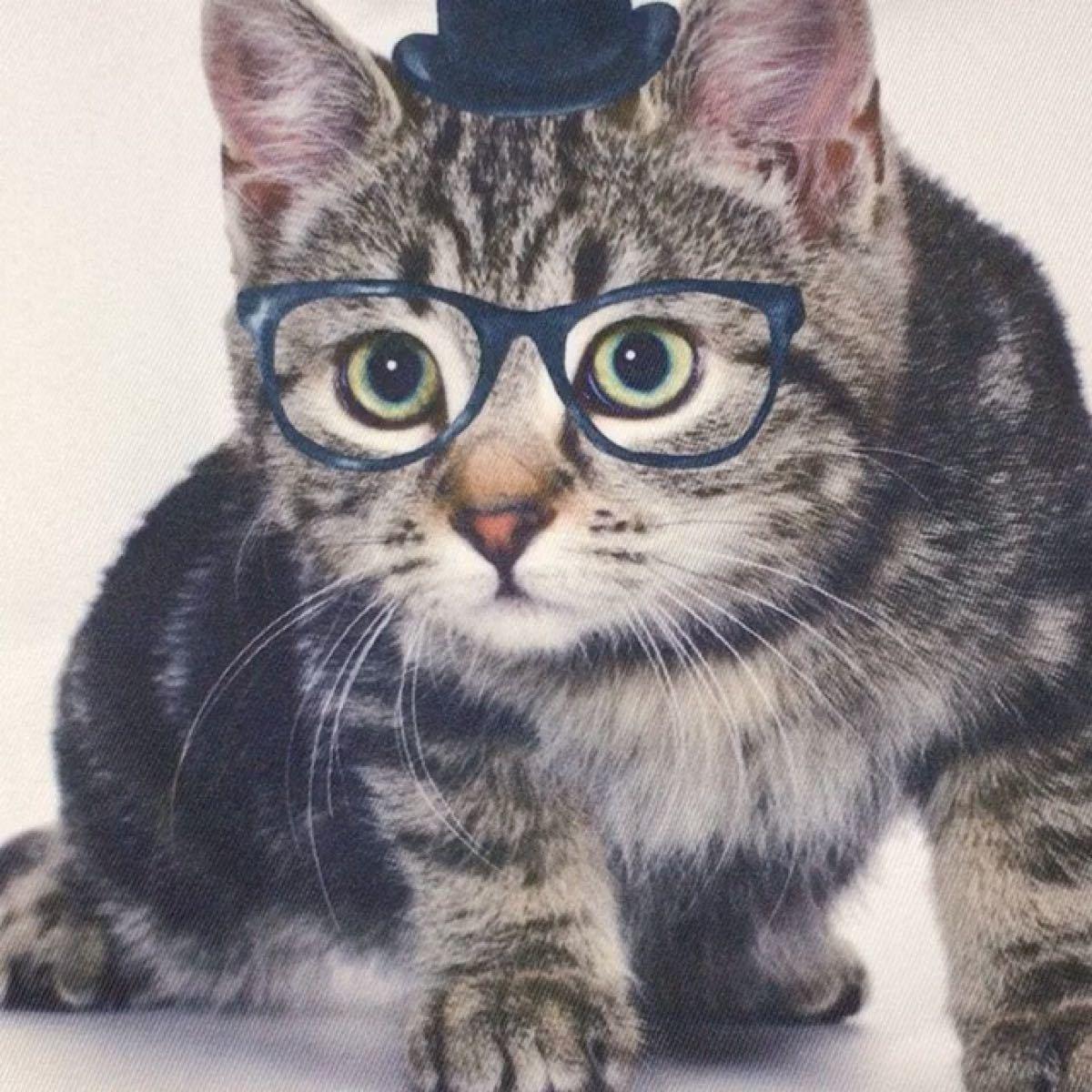 猫バック 猫好き トートバッグ 買い物バック ファスナー付 裏地 中ポケット