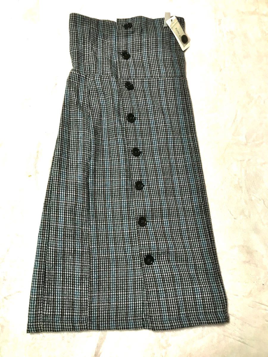 ロングスカート Aラインスカート サテン生地リボンブラウス新品未使用タグ付け付き タイトロングスカート新品未使用タグ付きツイード