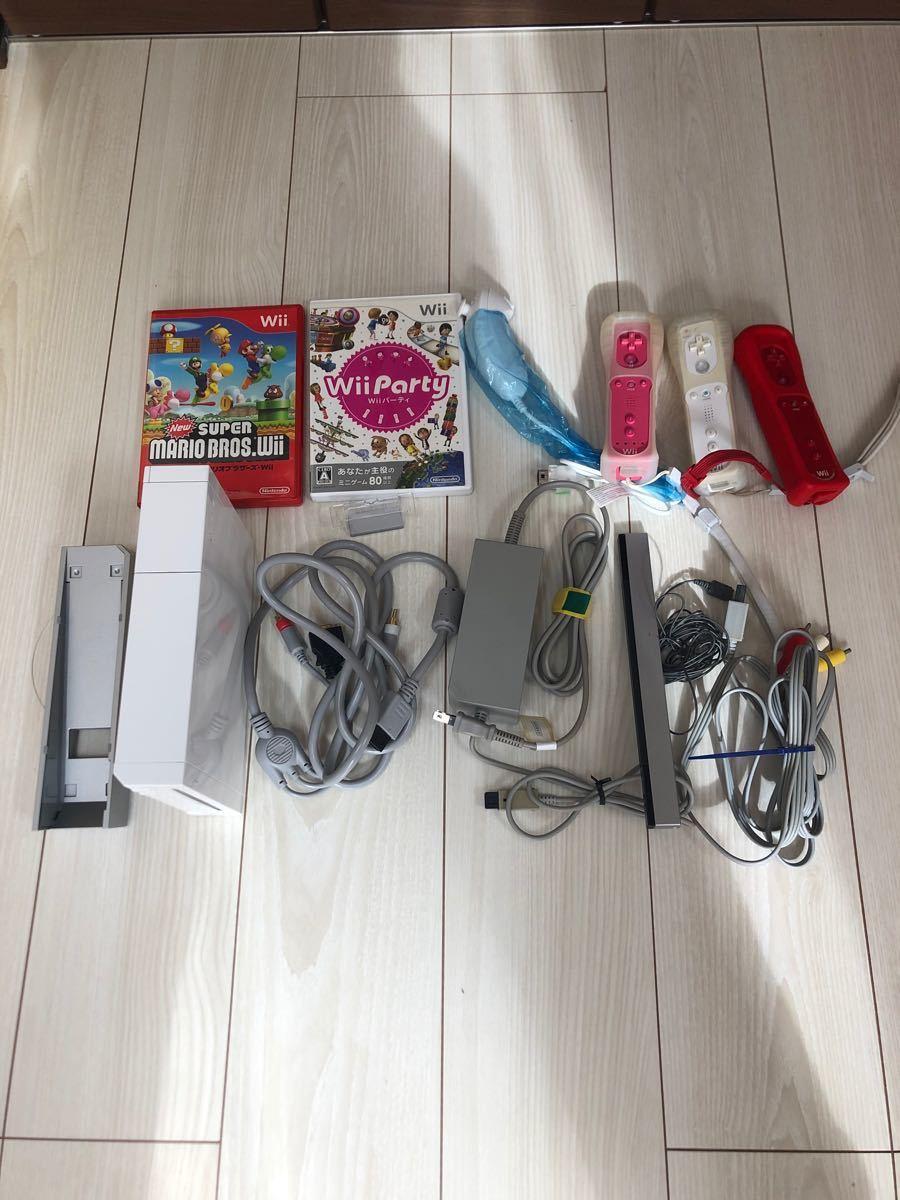 任天堂Wii本体+ソフトセット NintendoWii スーパーマリオ、Wiiparty Wiiリモコン 動作確認済