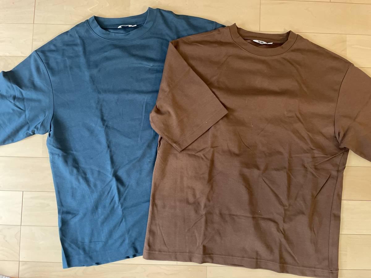 美中古 UNIQLO ユニクロ エアリズムコットンオーバーサイズTシャツ(5分袖) エアリズム Tシャツ XL_画像1