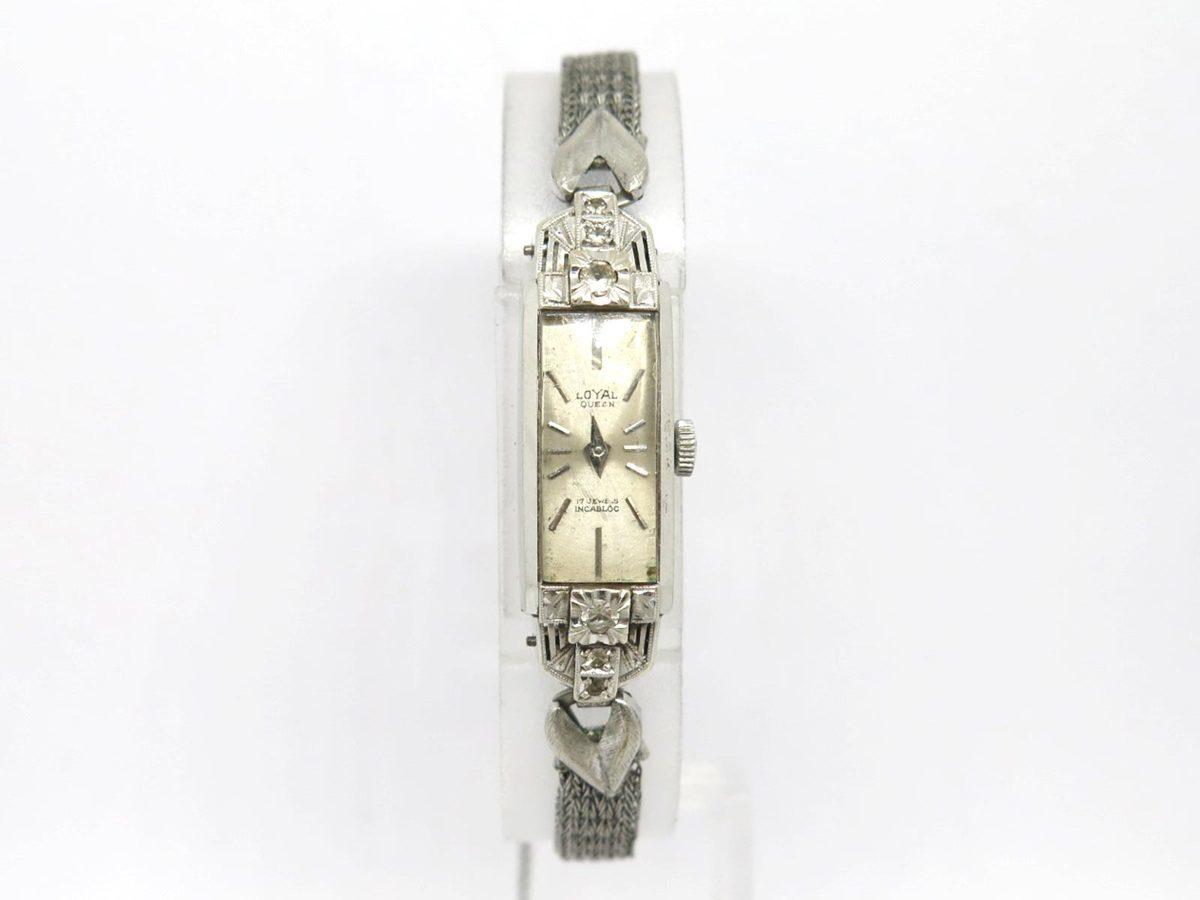 1円〓03楽市〓本物 LOYAL QUEEN ロイヤルクイーン K14WG レディース 手巻き 腕時計 12.4g【中古】
