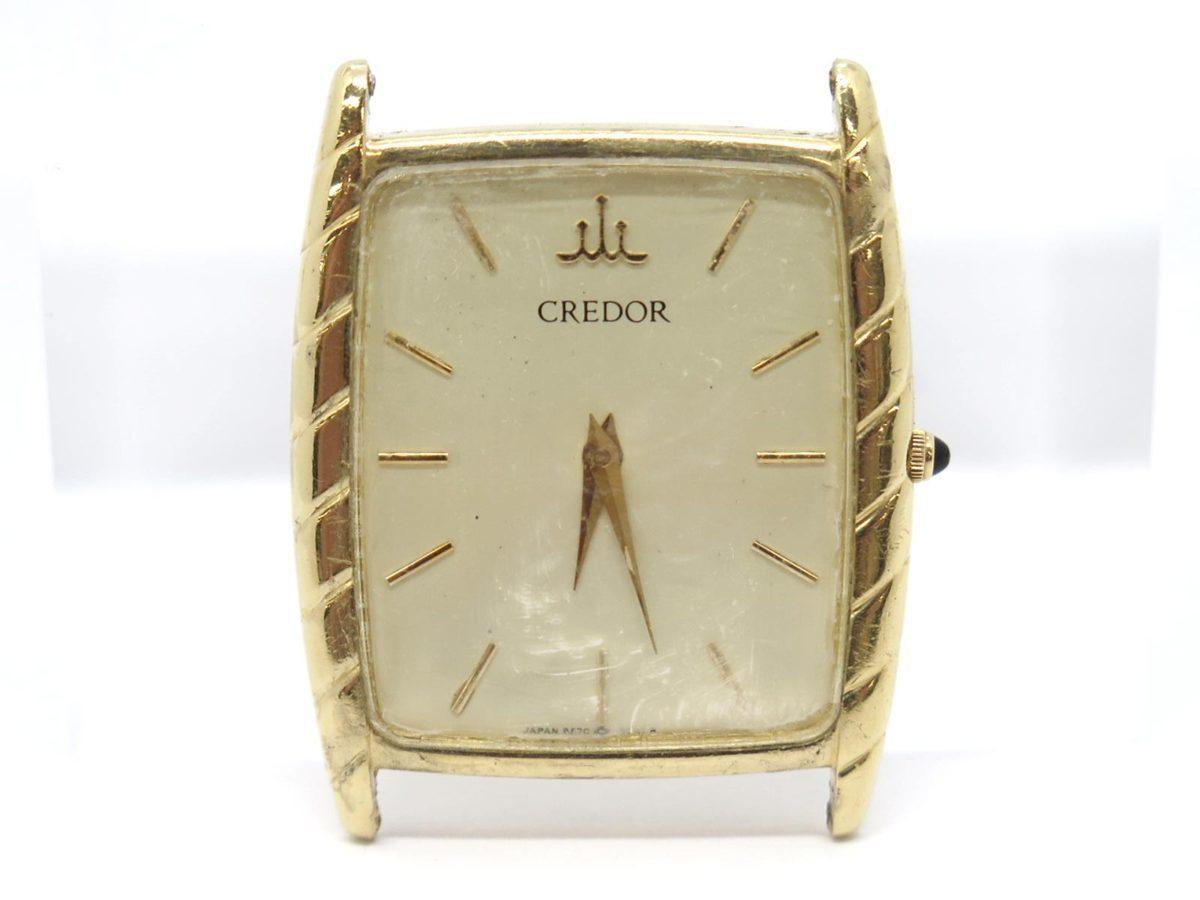 1円〓03楽市〓本物 SEIKO セイコー K18YG クレドール メンズ QZ クオーツ 腕時計 ケース