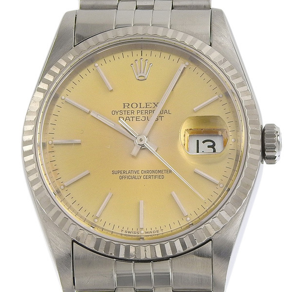 1円☆03楽市☆ ROLEX ロレックス デイトジャスト メンズ オートマ 腕時計 16234 S番台