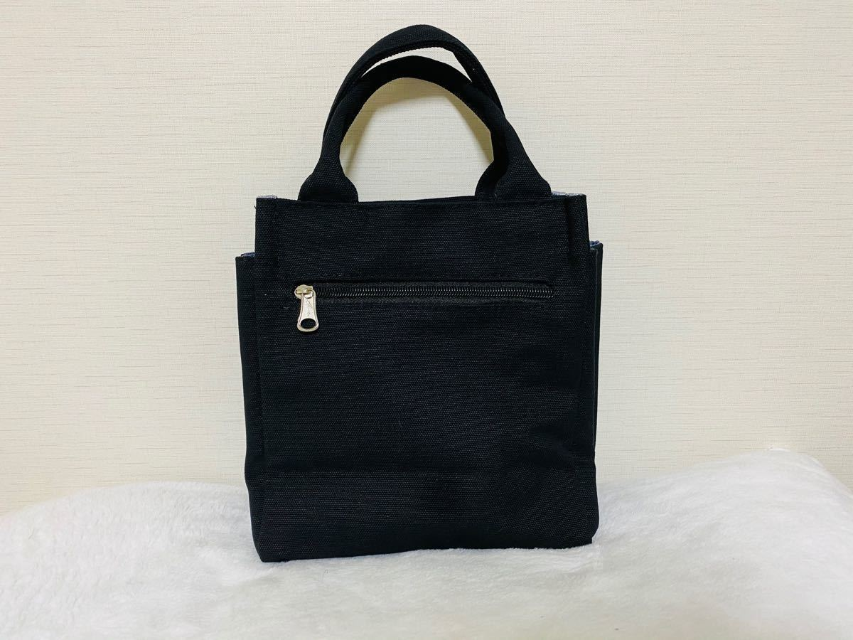ミニバッグ トートバッグ 手提げ サブバッグ ブラック 大容量 ミニトート キャンバストート コンパクト サイドポケット