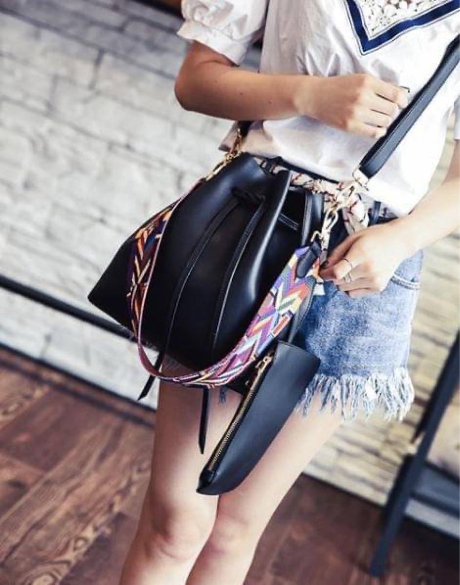 ショルダーバッグ ハンドバッグ 女性用 2way フェイクレザー 巾着 シンプル 大容量 ブラック レディース ファッション