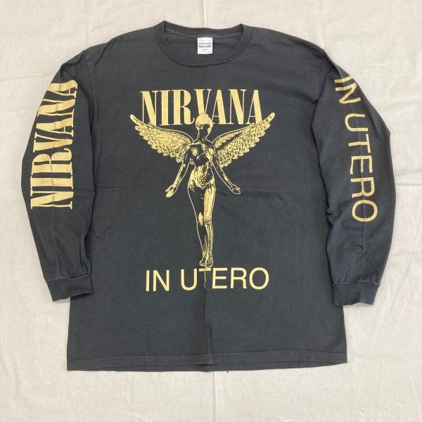 Made in USA 90s VTG NIRVANA IN UTERO 長袖 Tシャツ ロンT KURT COBAIN カートコバーン ニルヴァーナ hole sonic youth_画像1