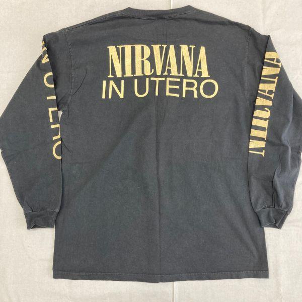 Made in USA 90s VTG NIRVANA IN UTERO 長袖 Tシャツ ロンT KURT COBAIN カートコバーン ニルヴァーナ hole sonic youth_画像7