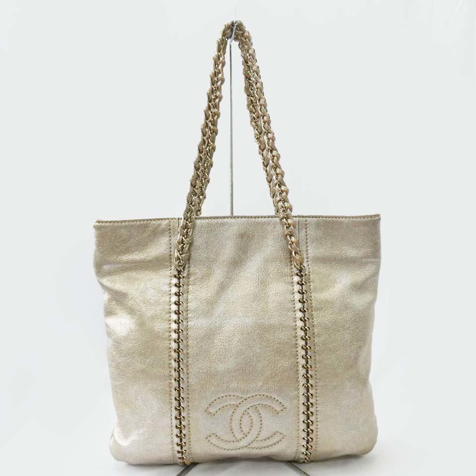 Сумка-тоут через плечо CHANEL с цепочкой и золотом цвета шампанского Сумка Coco Mark r515-5 Chanel и сумка, сумка и сумка через плечо
