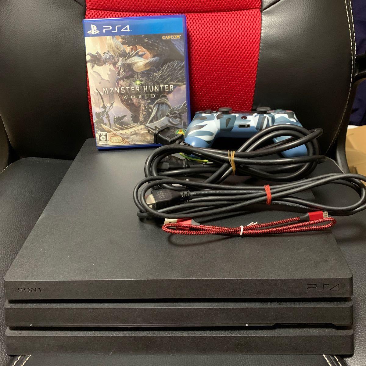 PS4 Pro 本体 1TB ジェットブラック 7000B ブラック PS4Pro 充電ケーブル新品! ケーブル類全て揃ってます!