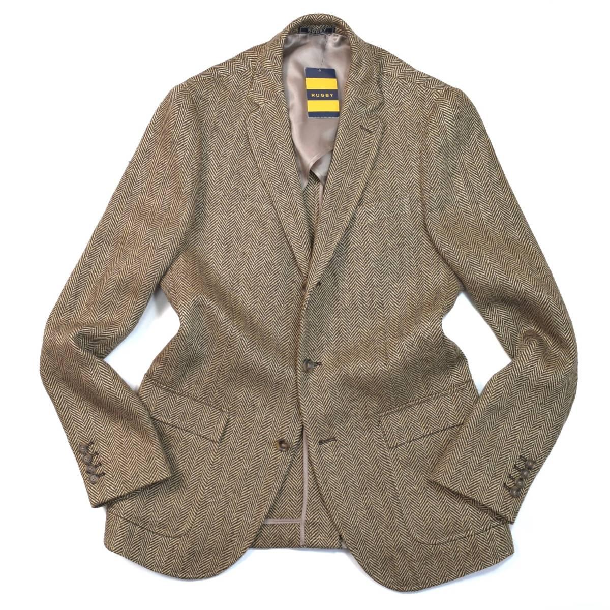 至高の銘品◎!!! ラルフローレン「RUGBY」紳士の品格溢れる上質なサマーツイード / 本格派のトラッド感を纏う 春夏 ジャケット (40L) XL程
