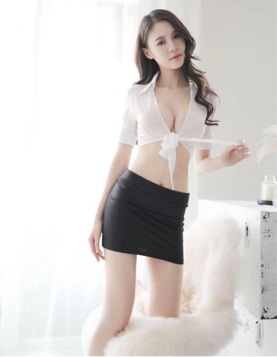 コスプレ衣装 セクシーランジェリー トップス ミニスカート 透け透け 上下セット