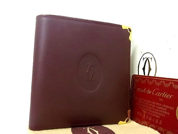 1円 ■新品同様■ Cartier カルティエ マストライン レザー ゴールド金具 二つ折り 財布 ウォレット 札入れ レディース ボルドー系 K7416sN