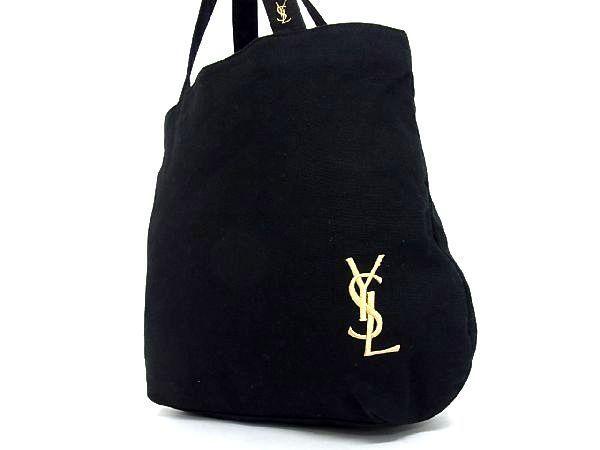 1円 ■美品■ YVES SAINT LAURENT イヴサンローラン キャンバス ハンドバッグ トートバッグ 手提げかばん レディース ブラック系 M2157uL_画像3