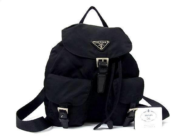 1円■極美品■PRADA プラダ ロゴ テスートナイロン 巾着型 シルバー金具 リュックサック バックパック レディース ブラック系 N0474fL