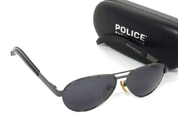 1円 ■美品■ POLICE ポリス ロゴ 2469 57 COL.568 サングラス メガネ 眼鏡 メンズ ブロンズ系×クリアブラック系 M2350uM
