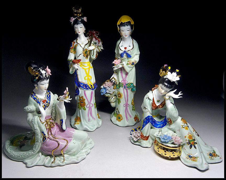 緑屋sc■ 色絵磁器 中国美人 陶器人形 4点まとめて mae/5-168/28-4#120