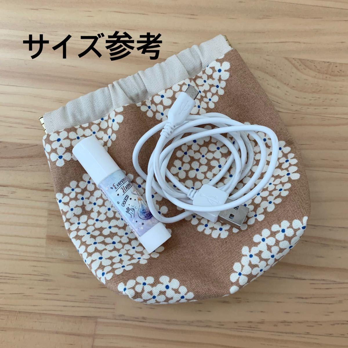 バッグインバッグ&バネロポーチ ☆花柄紺