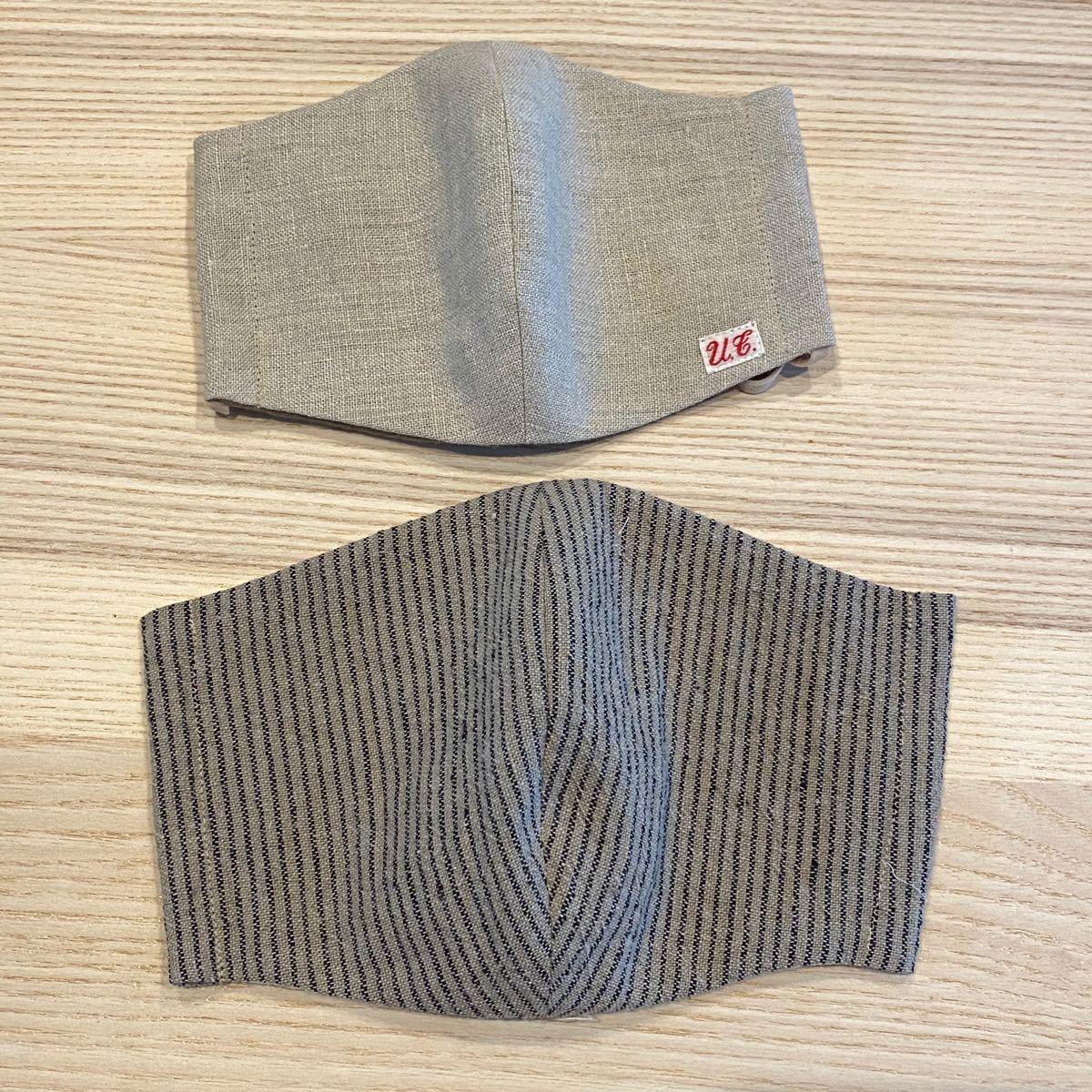 ハンドメイド 立体型インナー インナーマスク 大きめサイズ 男性用 2枚セット ナチュラル ベージュ ゴム付き