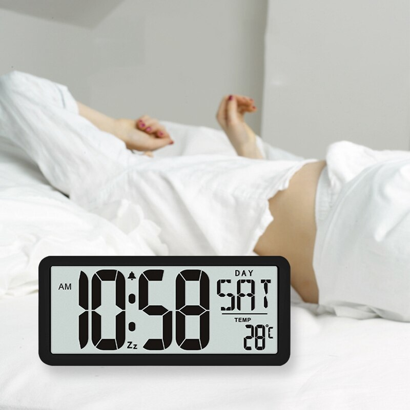 新品 13.8インチ大型デジタルジャンボ目覚まし時計 スクエア ウォールクロック 壁掛け 卓上 時計 大型 日付 湿度 インテリア オフィス_画像2