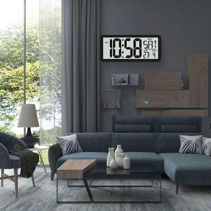 新品 13.8インチ大型デジタルジャンボ目覚まし時計 スクエア ウォールクロック 壁掛け 卓上 時計 大型 日付 湿度 インテリア オフィス_画像3