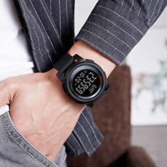 ブラック Timever(タイムエバー)デジタル腕時計 防水 メンズ スポーツ うで時計 多 機能 付き ストップウォッチ アラ_画像9