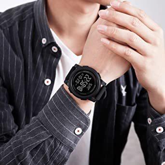 ブラック Timever(タイムエバー)デジタル腕時計 防水 メンズ スポーツ うで時計 多 機能 付き ストップウォッチ アラ_画像7