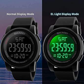 ブラック Timever(タイムエバー)デジタル腕時計 防水 メンズ スポーツ うで時計 多 機能 付き ストップウォッチ アラ_画像2