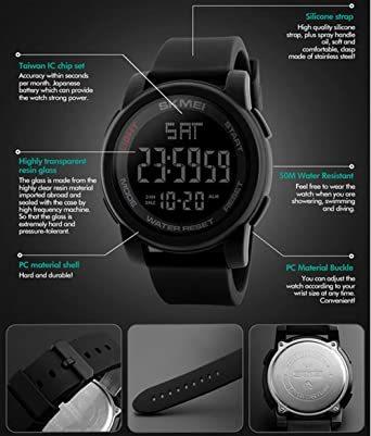 ブラック Timever(タイムエバー)デジタル腕時計 防水 メンズ スポーツ うで時計 多 機能 付き ストップウォッチ アラ_画像6