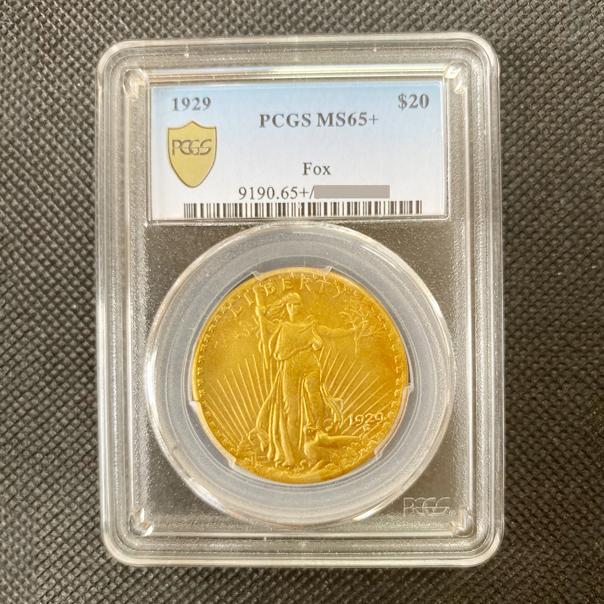 【記念貨幣】 米国希少金貨 1929 アメリカ $20 PCGS鑑定済み MS65+ 20ドル 高鑑定品